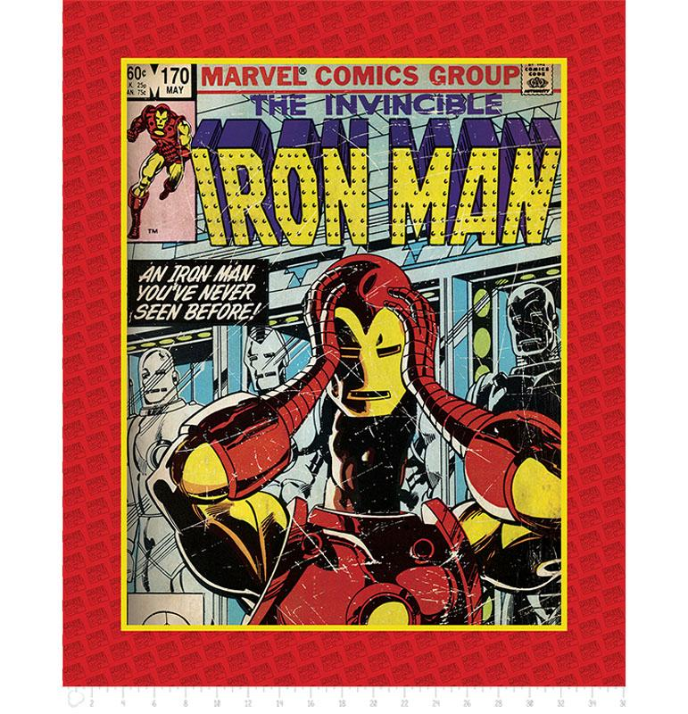 Marvel III Invincible Iron Man Panel Fabric by Camelot
