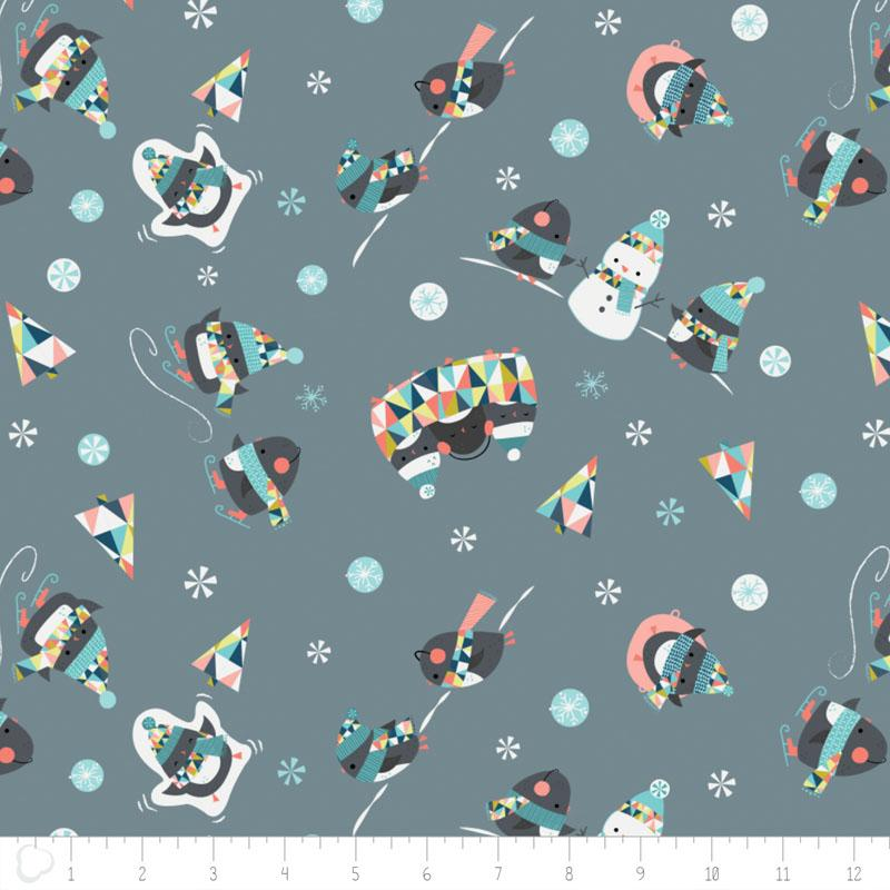 Oh What Fun Penguins in Lead Fabric by Camelot