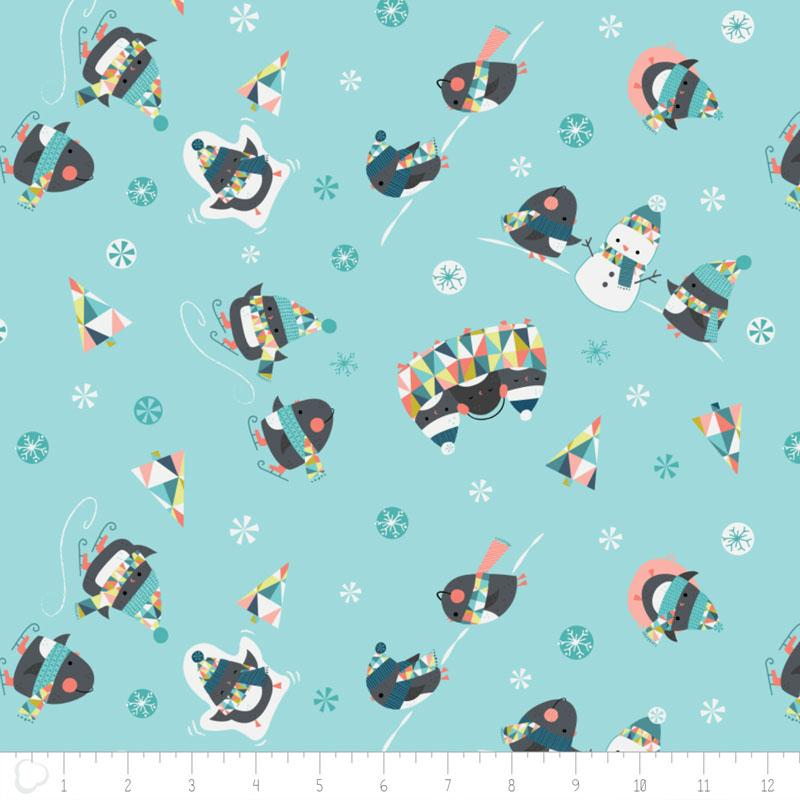 Oh What Fun Penguins in Light Blue - Frumble Fabrics
