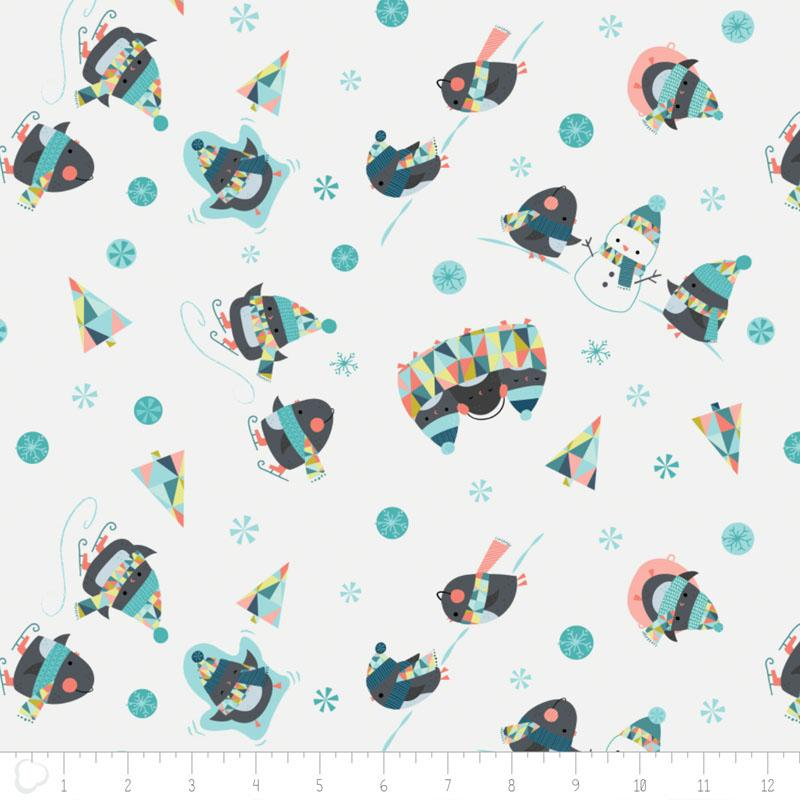 Oh What Fun Penguins in White - Frumble Fabrics