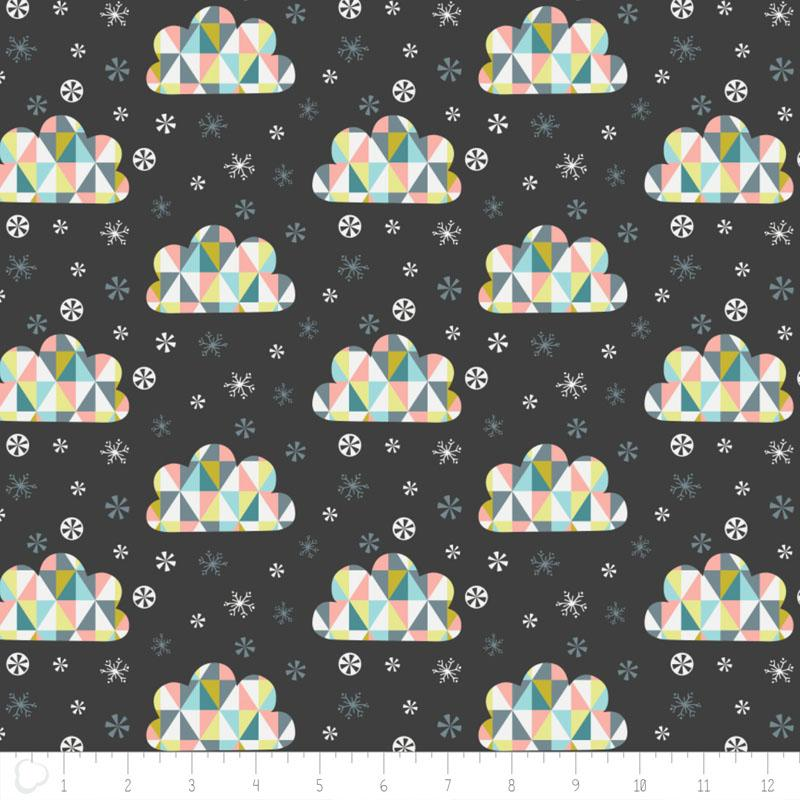 Oh What Fun Triangle Clouds In Carbon Fabric by Camelot