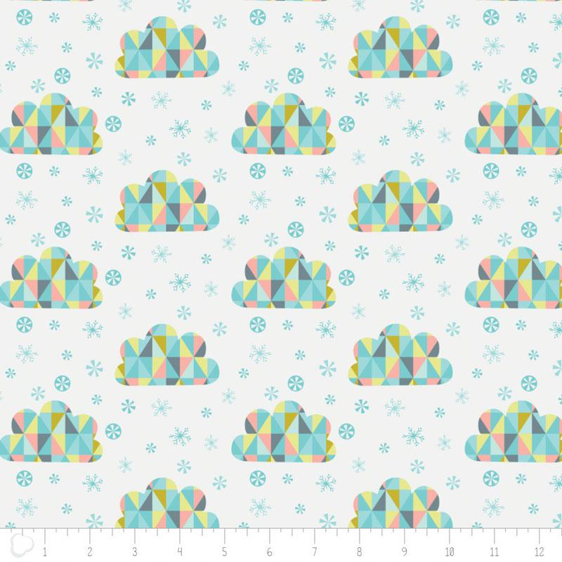 Oh What Fun Triangle Clouds In White - Frumble Fabrics