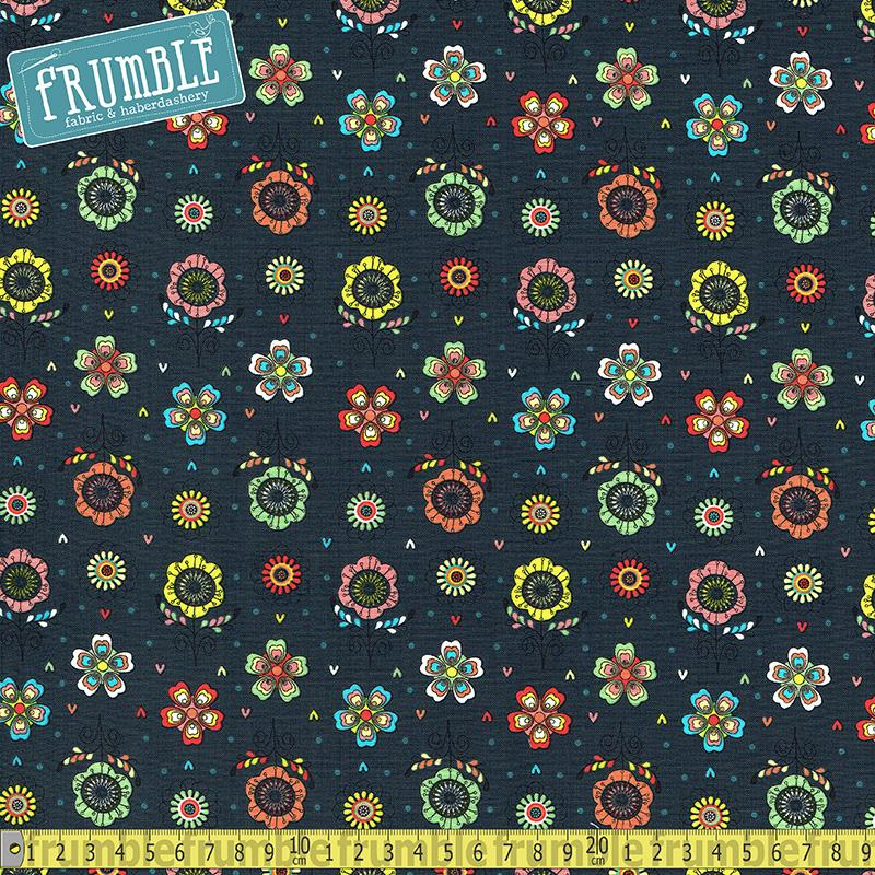 Petite Plume Navy Floral - Frumble Fabrics