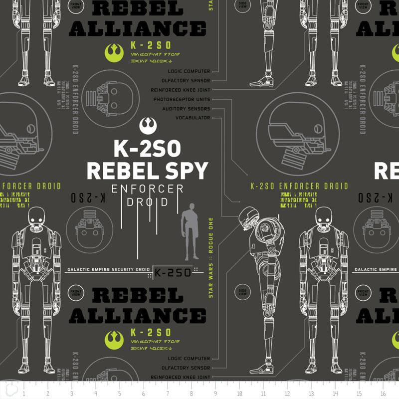 Star Wars Rogue One K-2S0 In Carbon - Frumble Fabrics