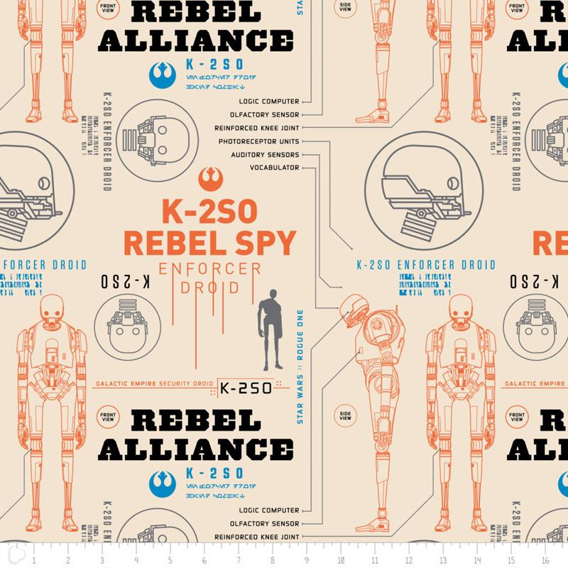 Star Wars Rogue One K-2S0 In Cream - Frumble Fabrics