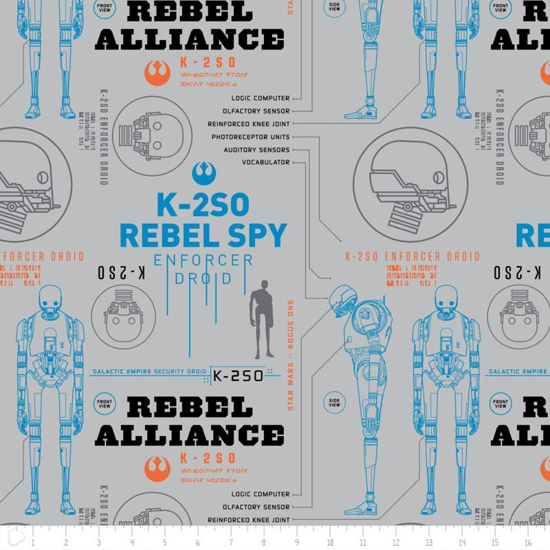 Star Wars Rogue One K-2S0 In Light Grey - Frumble Fabrics