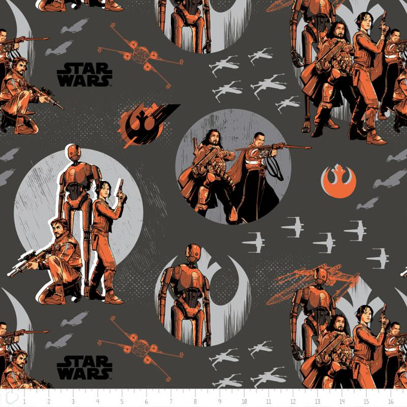 Star Wars Rogue One Rebels In Carbon - Frumble Fabrics