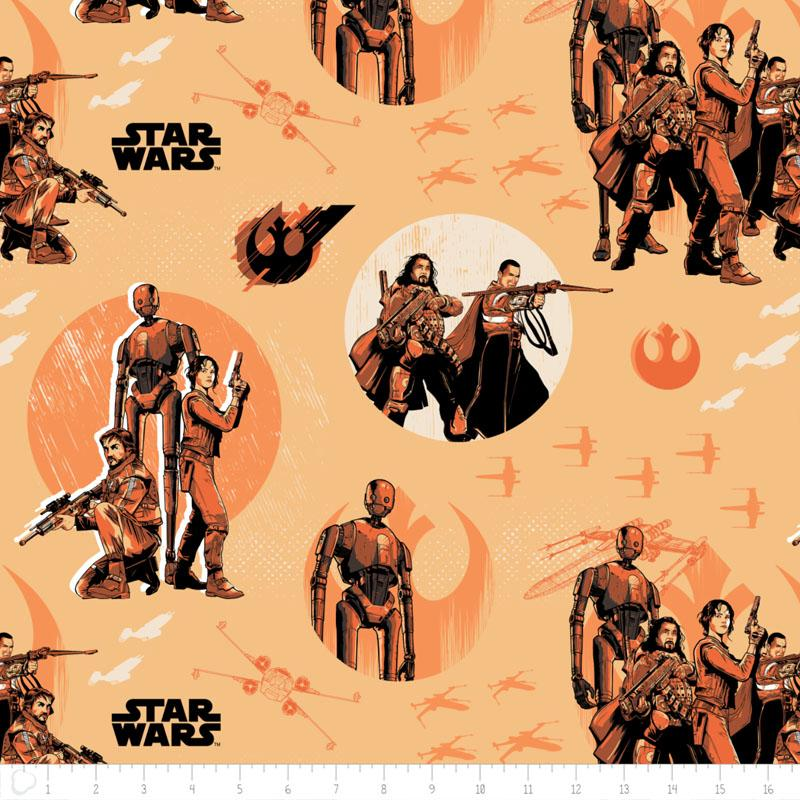 Star Wars Rogue One Rebels In Light Orange Fabric by Camelot