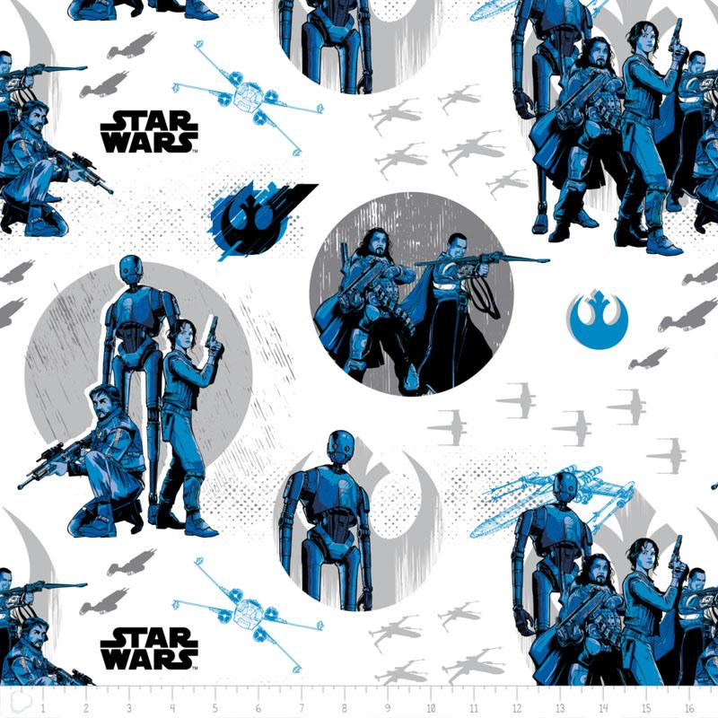 Star Wars Rogue One Rebels In White - Frumble Fabrics