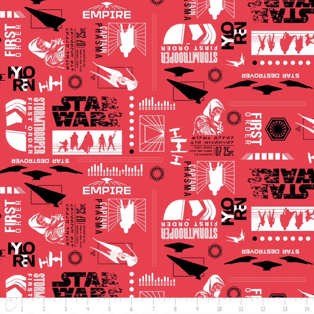 Star Wars The Last Jedi Empire Silhouettes In Ruby Fabric by Camelot