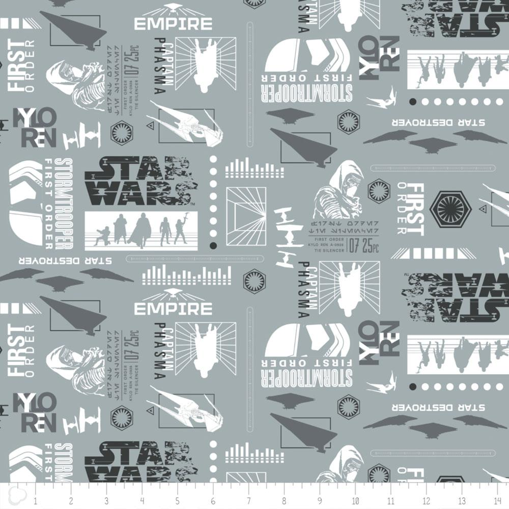 Star Wars The Last Jedi Empire Silhouettes In Stone Fabric by Camelot