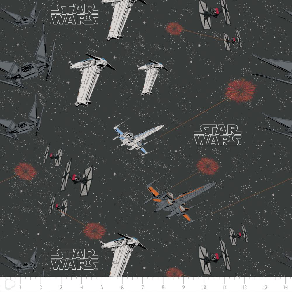 Star Wars The Last Jedi Space Ship Battle In Carbon - Frumble Fabrics