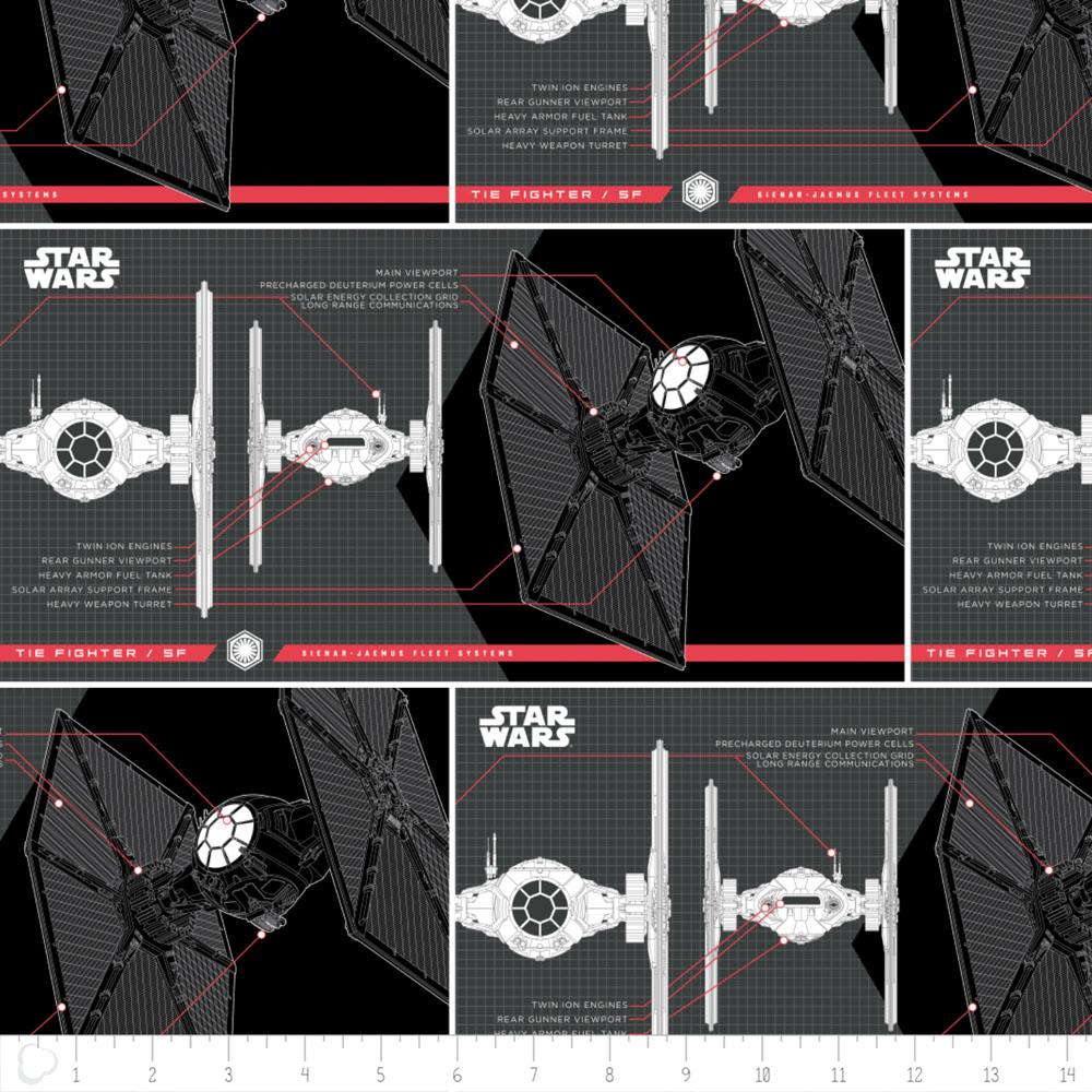 Star Wars The Last Jedi Tie Fighter In Black - Frumble Fabrics