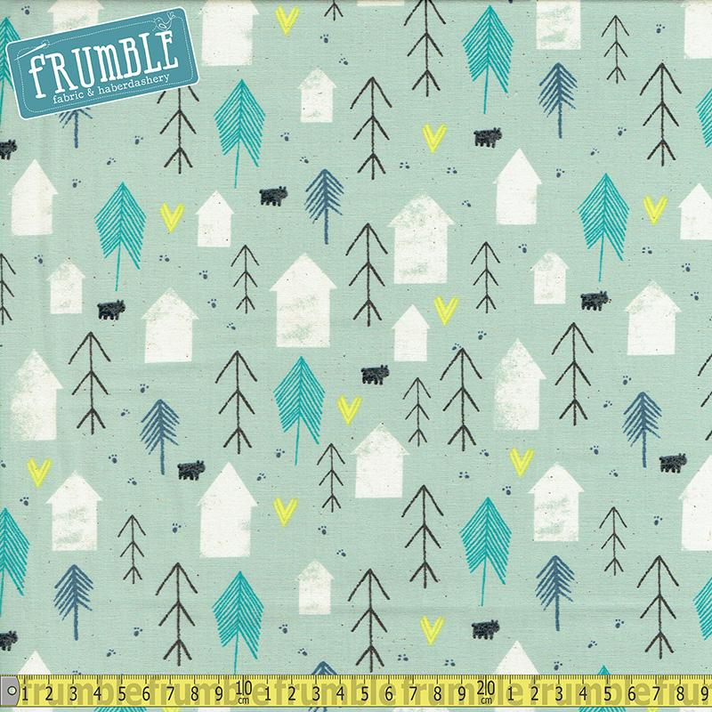 Cozy Neighbour Mint Fabric by Cotton + Steel