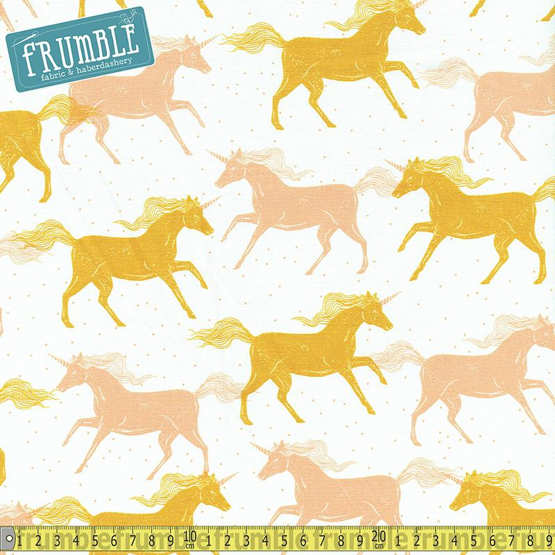 Magic Forest Unicorns Yellow Fabric by Cotton + Steel