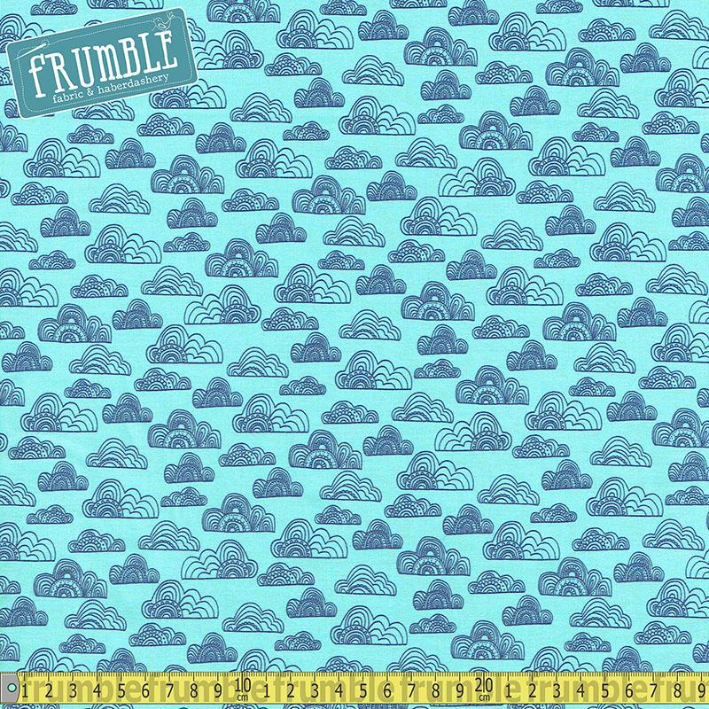 Jungle Fever Clouds Light Teal - Frumble Fabrics