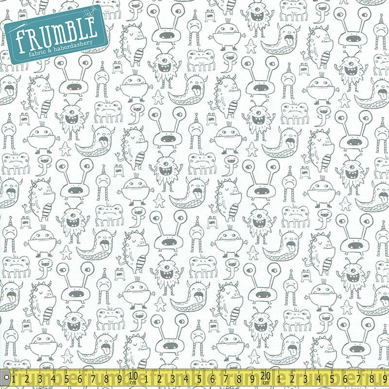 Super Bad Monsters White - Frumble Fabrics