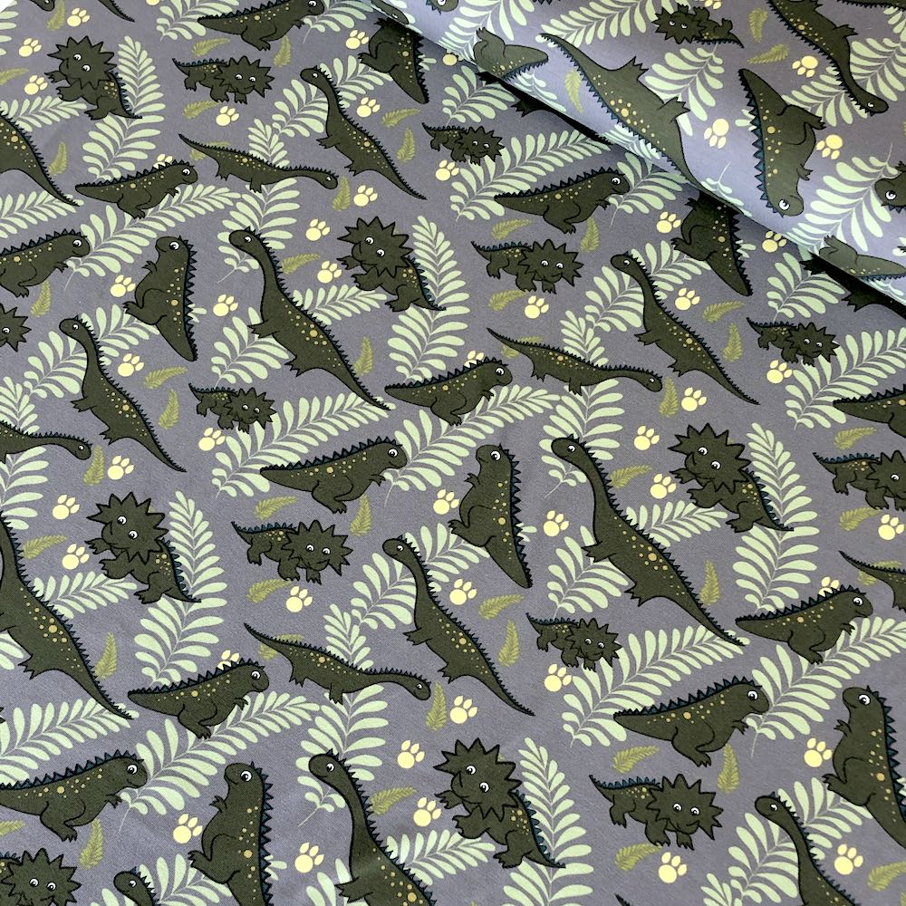 Cutie Dinos And Leaves Grey Jersey Print - Frumble Fabrics