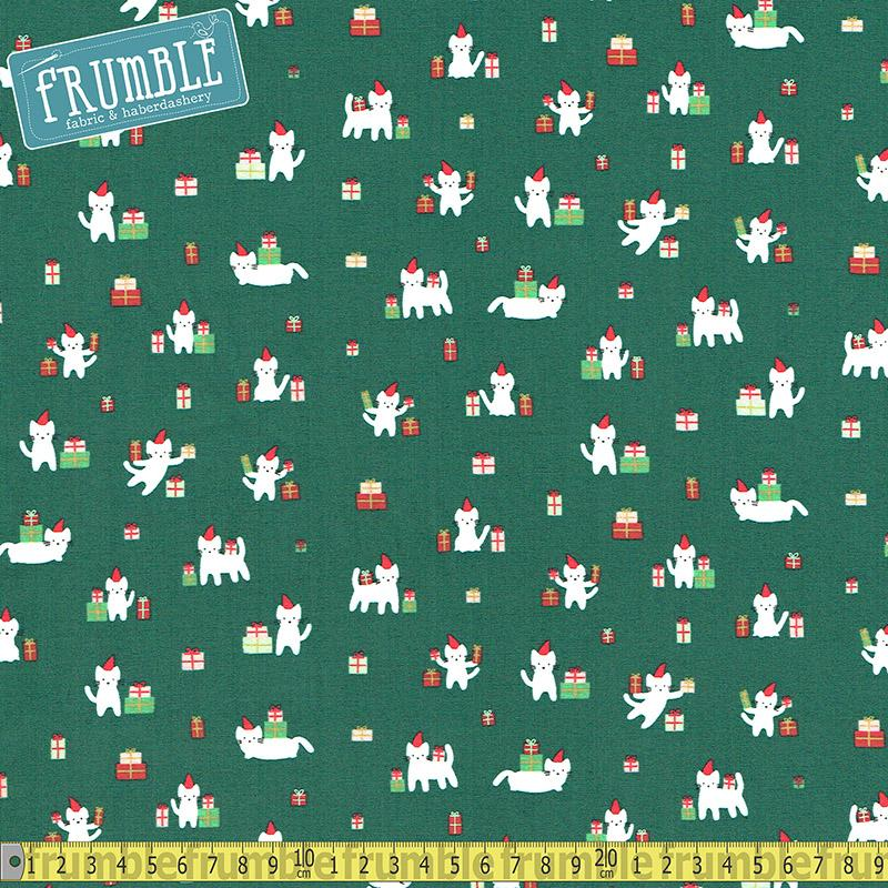 Christmas Darlings Meowy Cats Fir Fabric by Dear Stella