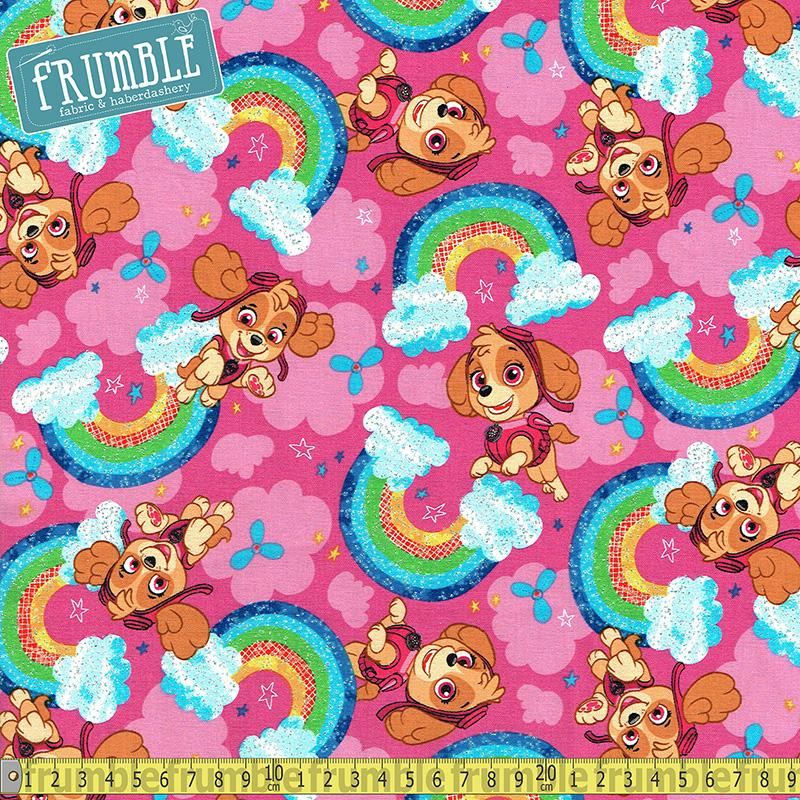 Paw Patrol Rainbow Sky With Glitter Pink Fabric by David Textiles