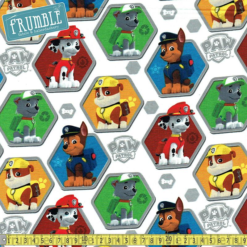 Paw Patrol Rescue White Fabric by David Textiles