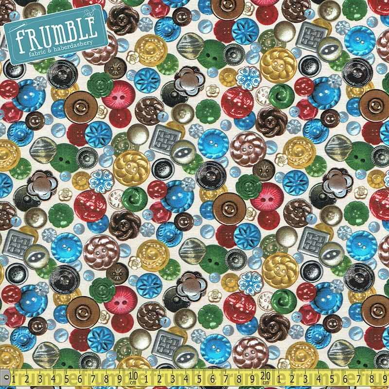 A Stitch In Time Buttons Cream - Frumble Fabrics