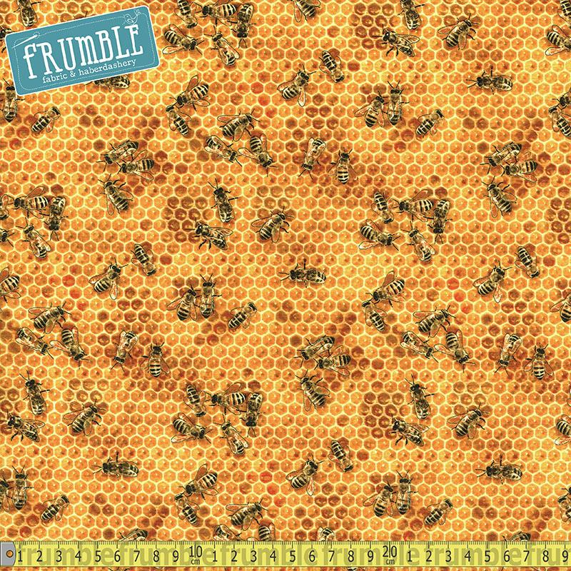 Bees & Flowers Honeycomb - Frumble Fabrics