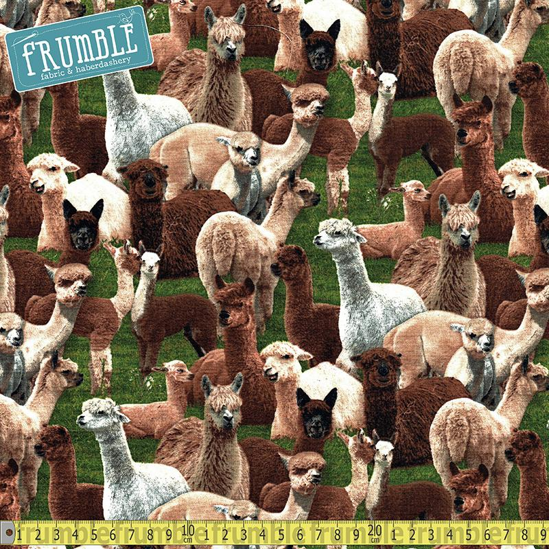 Farm Animals Alpacas Green Fabric by Elizabeth Studio