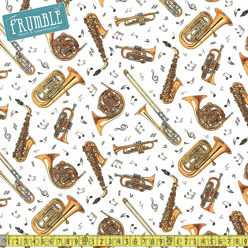 Jazz Musical Instruments Trumpet Cream Fabric by Elizabeth Studio