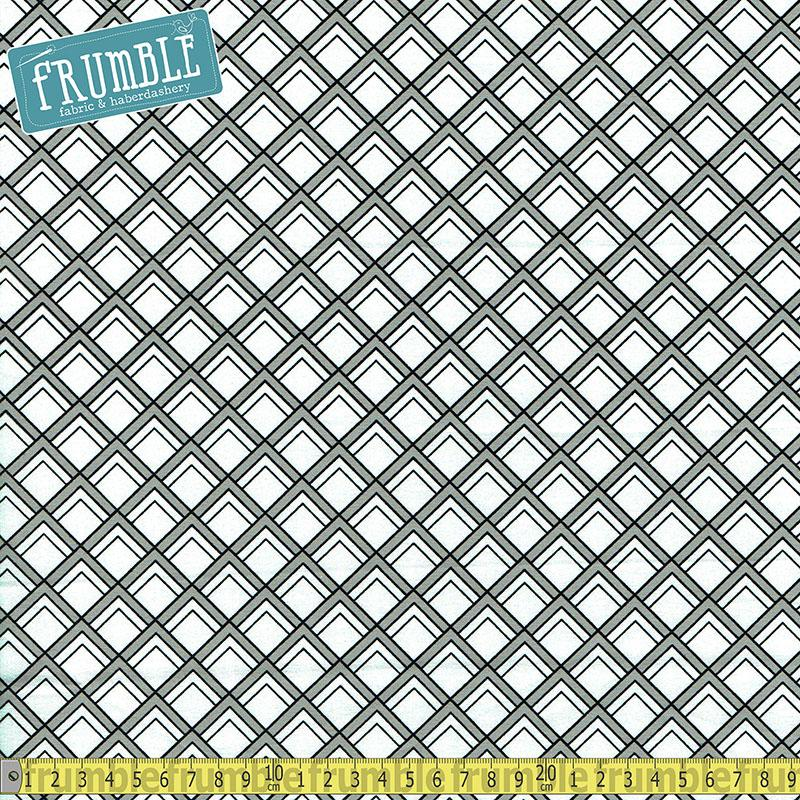 Black & White Diamond Marks White - Frumble Fabrics