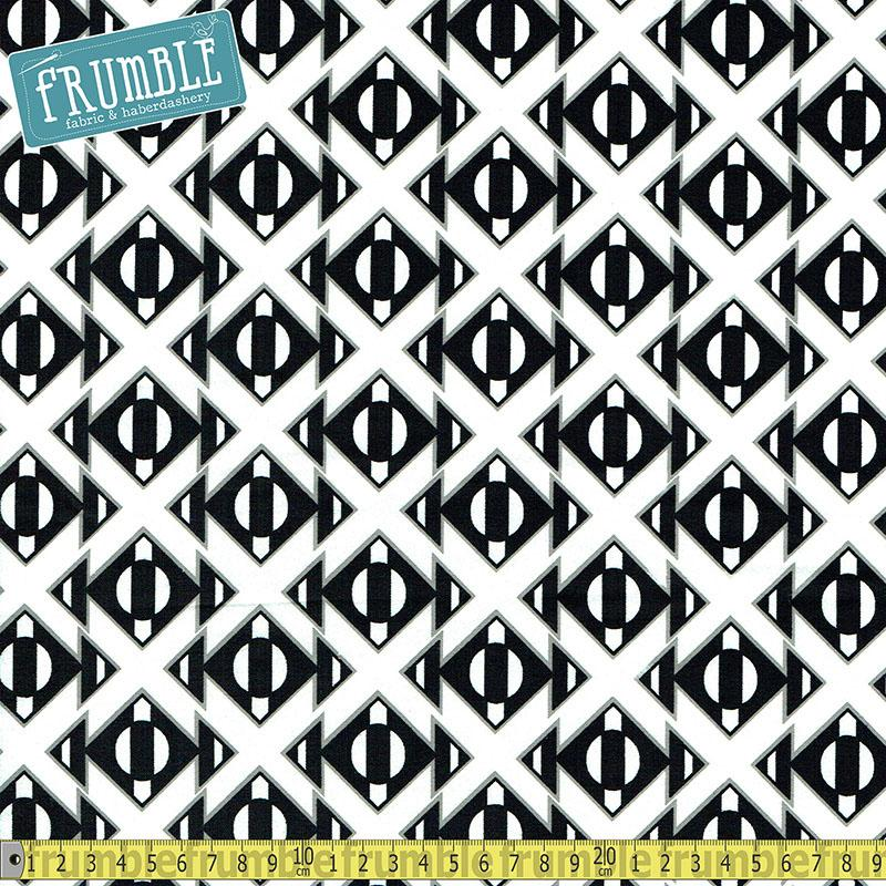 Black & White Geo Triangle Stripe White Fabric by Fabric Editions