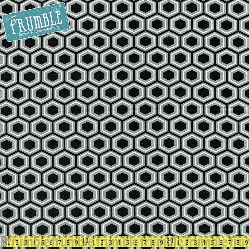 Black & White Hexagons Grey Fabric by Fabric Editions