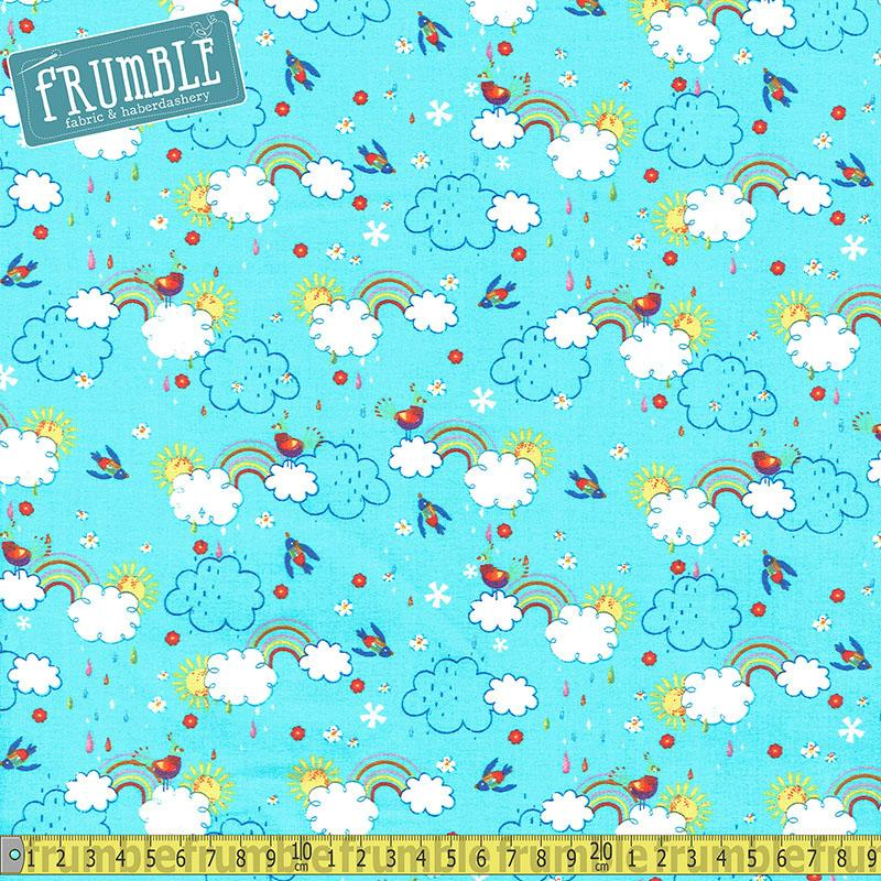 Colour Me Fun Clouds & Rainbows Blue Fabric by Fabric Editions
