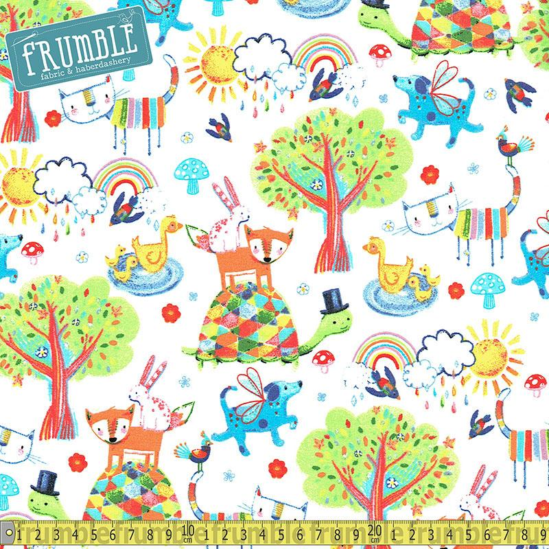Colour Me Fun Cute Animals White Fabric by Fabric Editions