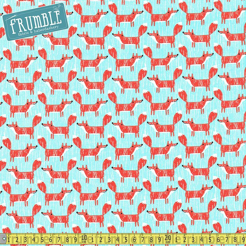 Forest Buddies Foxes Turquoise Fabric by Fabric Editions
