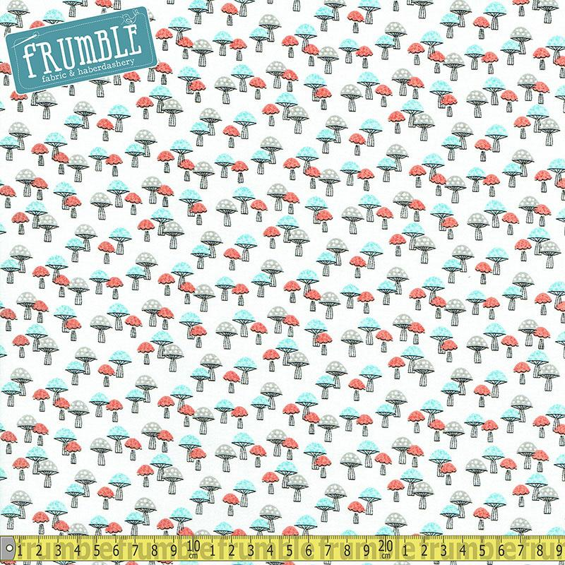 Forest Buddies Mushrooms White Fabric by Fabric Editions