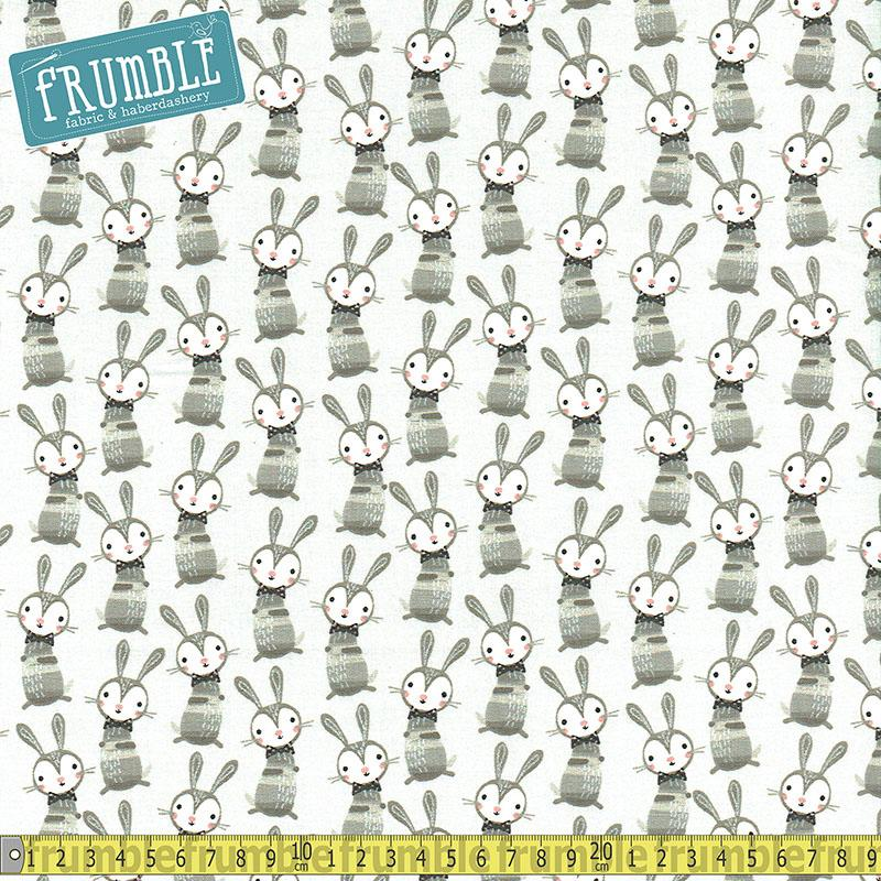 Good Night Forest Bunny Boogie Light Grey Fabric by Fabric Editions