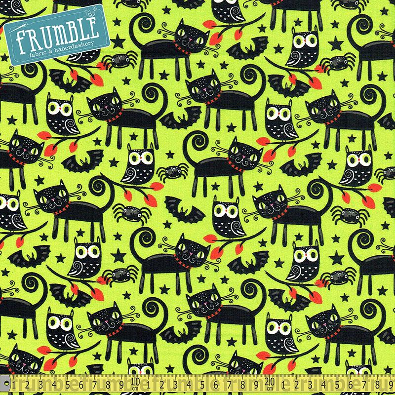 Halloween Trick Or Treat Cats Green Fabric by Fabric Editions