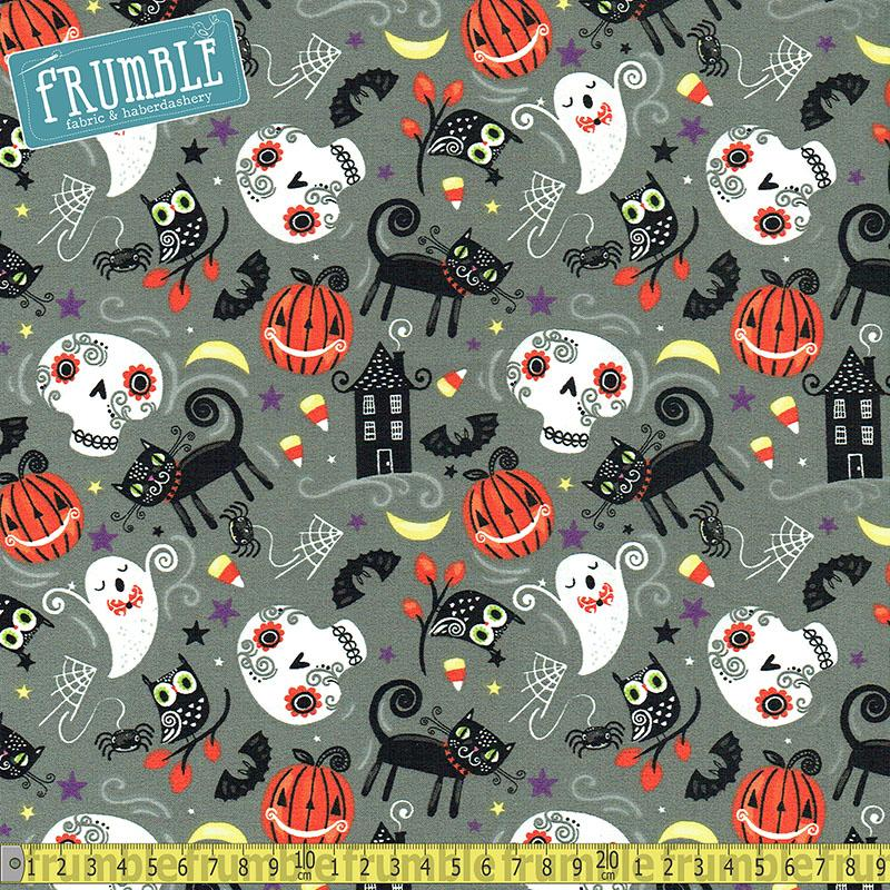 Halloween Trick Or Treat Nighttime Friends Grey Fabric by Fabric Editions
