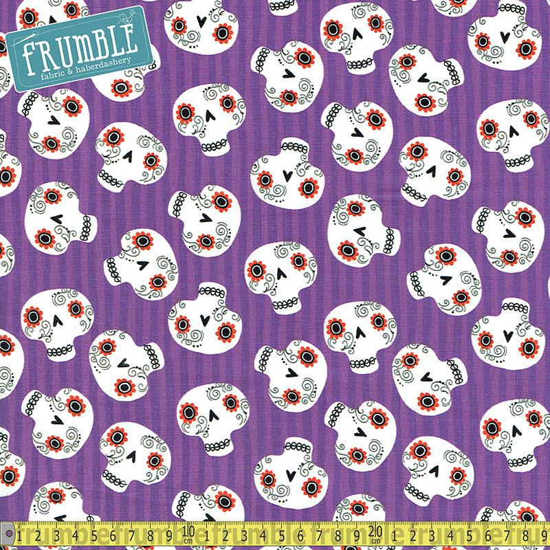Halloween Trick Or Treat Skulls Purple Fabric by Fabric Editions