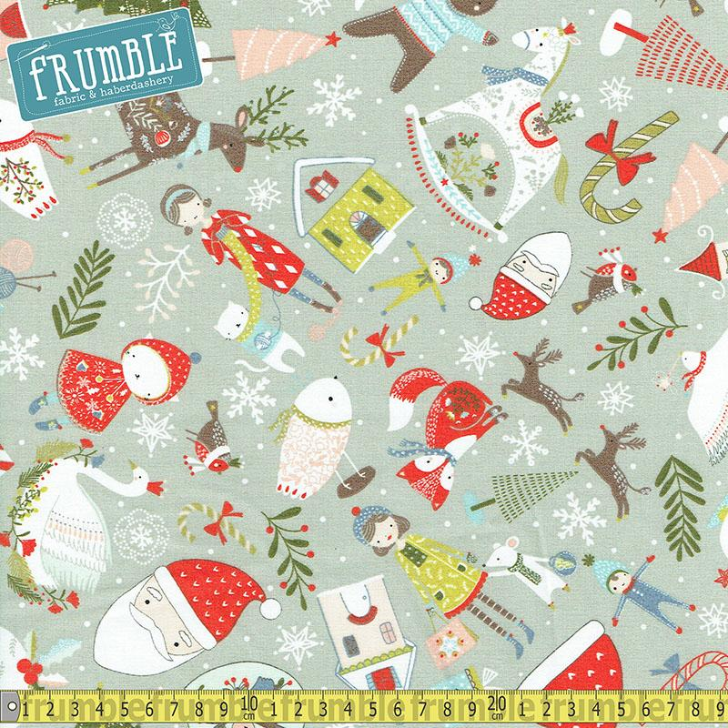 Happy Holidays Christmas Things Grey Fabric by Fabric Editions