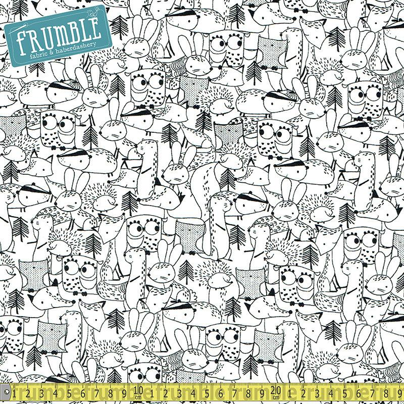 Just Friends Animals Outline Black - Frumble Fabrics