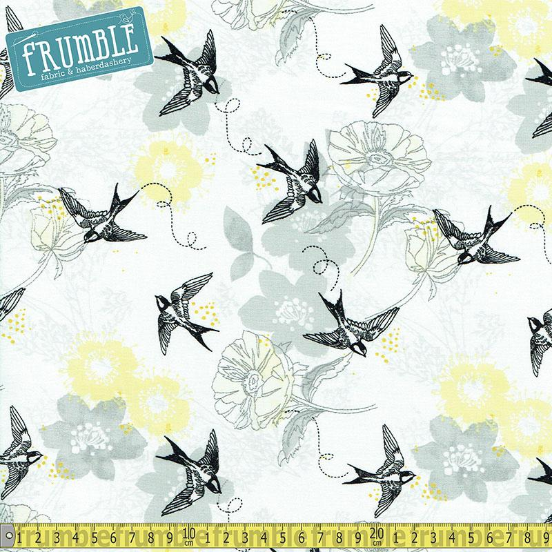 Marbella Flower & Swallow Grey Fabric by Fabric Editions