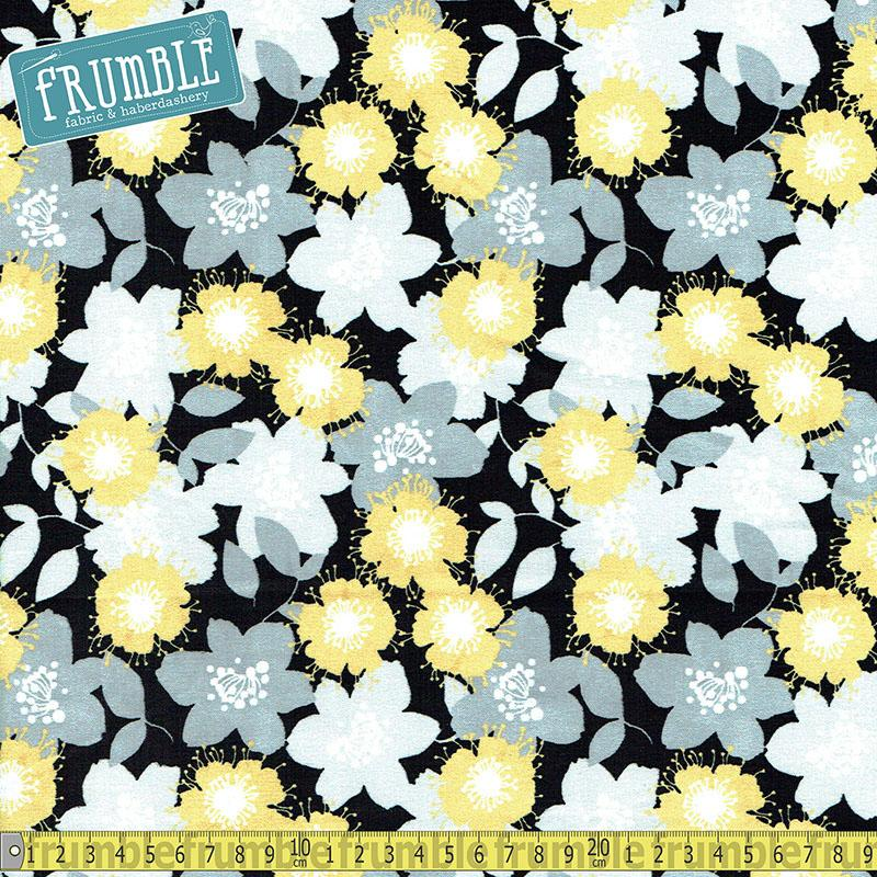 Marbella Flowers Black Fabric by Fabric Editions
