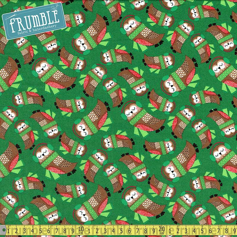 Merry Forest Owls Green - Frumble Fabrics