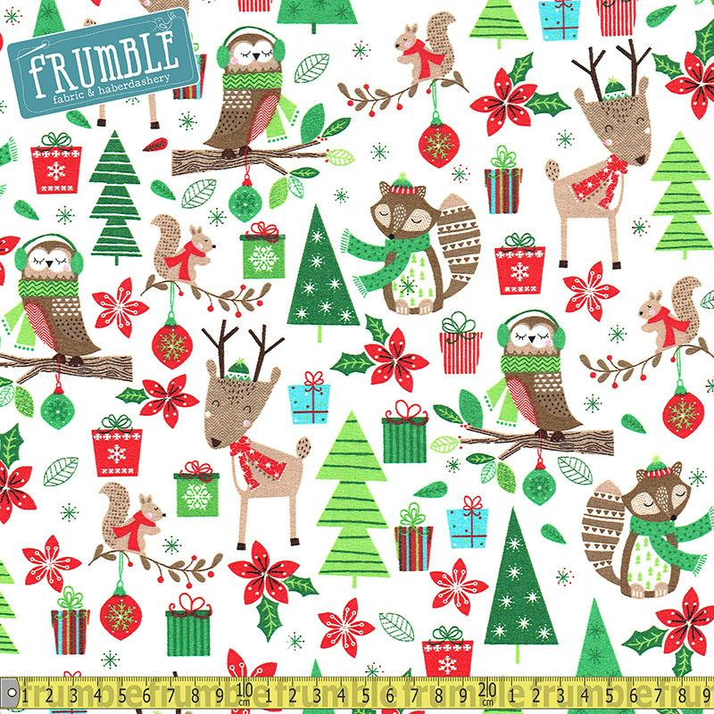 Merry Forest Woodland Friends Cream Fabric by Fabric Editions