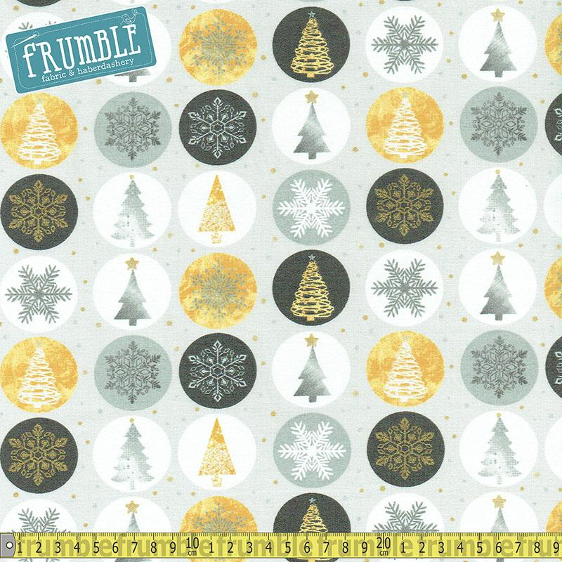 Metallic Forest Ornaments Lt Grey Fabric by Fabric Editions