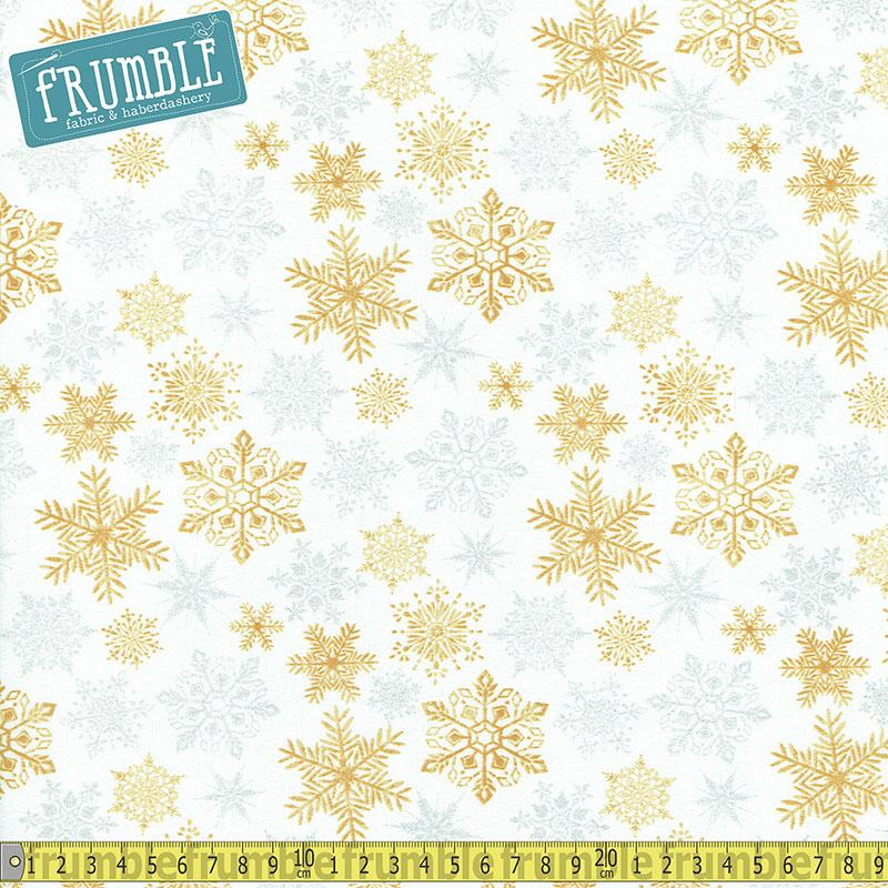 Metallic Forest Snowflakes White Fabric by Fabric Editions