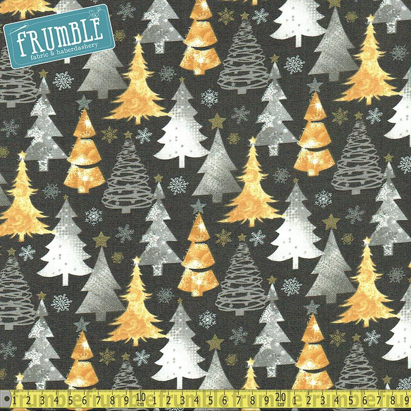 Metallic Forest Trees And Snow Grey Fabric by Fabric Editions