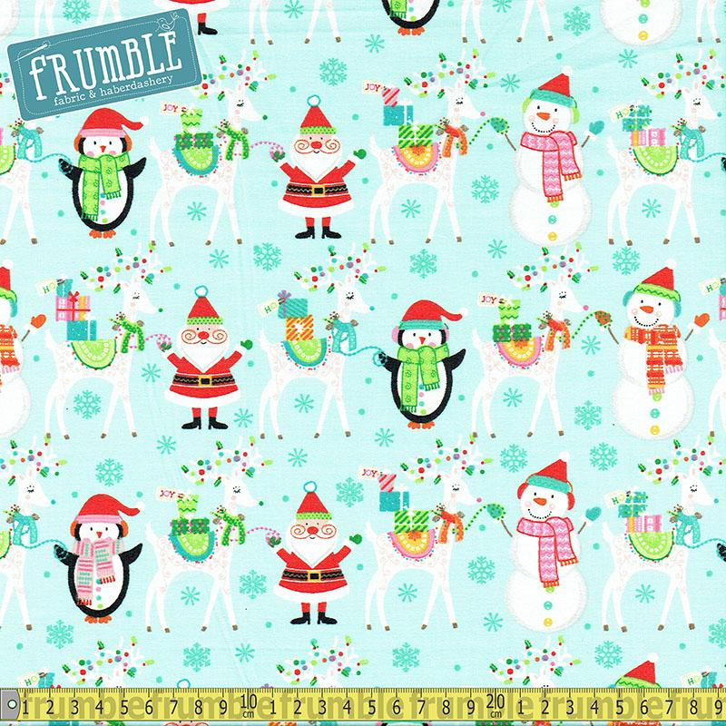 Santa And Friends Main Blue Fabric by Fabric Editions